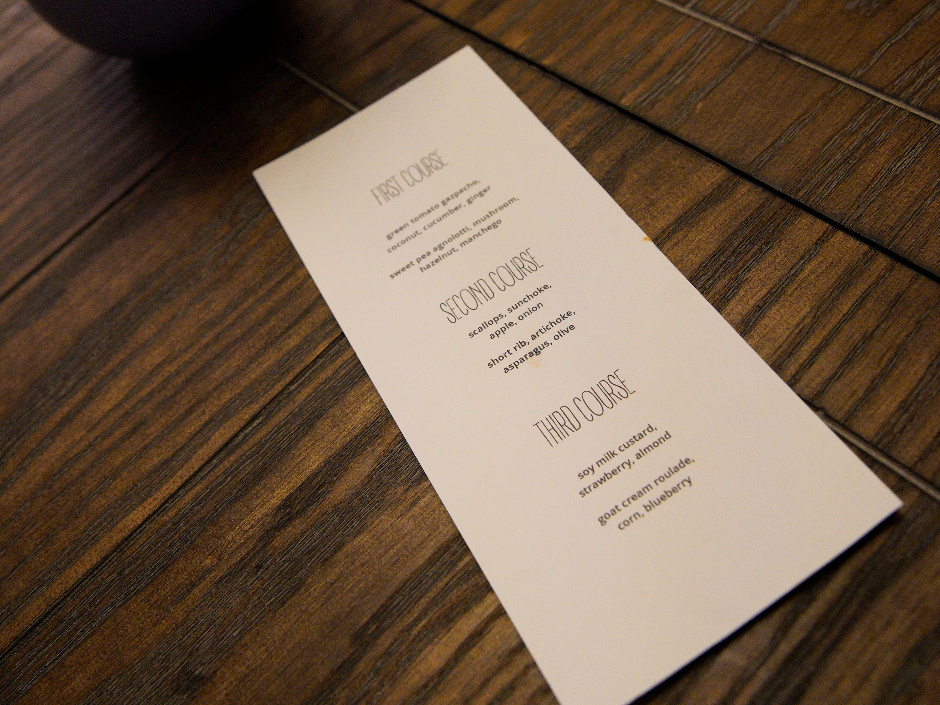 """The menu at Thistle, one of the three restaurants on Restaurant Wars, episode 5 of Bravo's """"Top Chef"""" Kentucky."""
