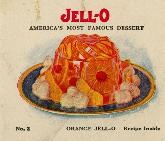 The cover of a four-page,1931 promotional leaflet. The advertisement describes how to make Jell-O and provides recipes for puddings, fruit dishes,and other desserts that call for Jell-O products.