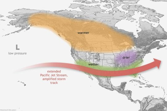 Here's how El Nino typically impacts U.S. winter weather. However, not all impacts occur during every event, and their strength and exact location can vary.