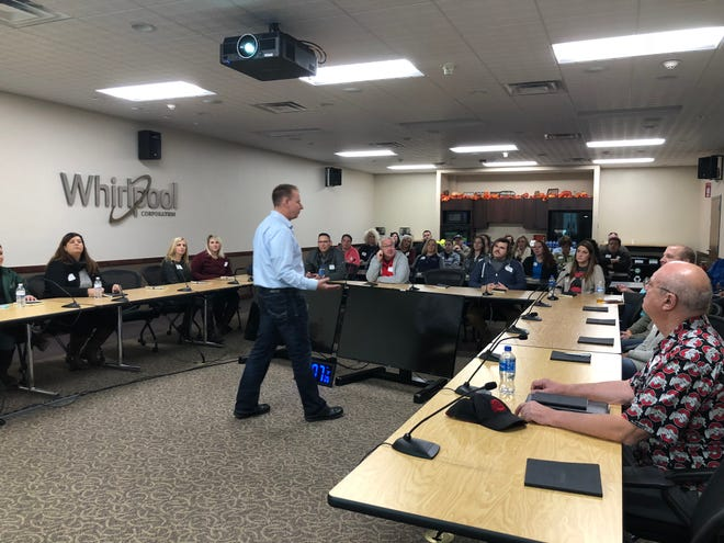 Leadership Marion – Session 2 – class toured Whirlpool Corporation.Ken Hosler, plant lead, spoke about his challenges and opportunities. The class then donned safety gear to get a first-hand look at the business, which produces more than 15,000 washers on a daily basis.