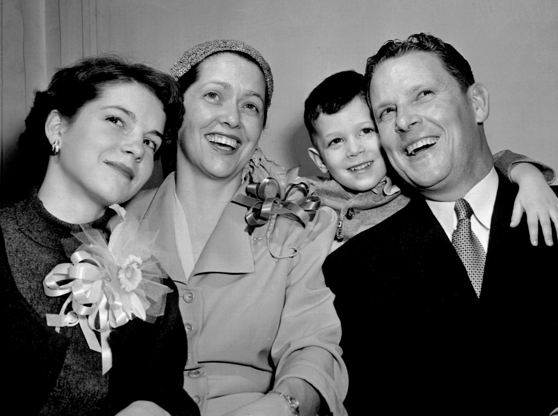 Rep. Al Gore announced his candidacy for the U.S. Senate on air at WMCT-TV in Memphis Saturday evening, February 2, 1952. Mrs. Gore and their two children, Nancy, 14, and Albert, 3, were there for the announcement. Gore, a Democrat, served as a U. S. Representative for Tennessee from 1939 through 1952 and senator from 1953-1970.