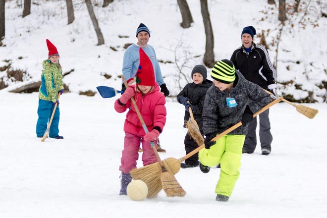 Try no-skate Family Broomball at Stewart Lake in Mount Horeb during their Scandihoovian Winter Festival.