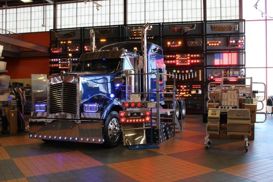 A wall at the Iowa 80 truck stop features 572 lights.