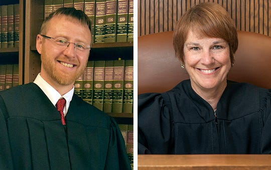 Brian Hagedorn (left) and Lisa Neubauer are candidates for Wisconsin Supreme Court.