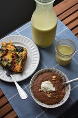 Bacon Cheddar and Spinach Strata, Turmeric Golden Milk and Nutty Chocolate Oatmeal add up to a hearty, soothing winter brunch that you can take on the road.