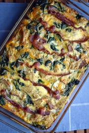 Bacon Cheddar and Spinach Strata is a great traveler in a thermal carrier.
