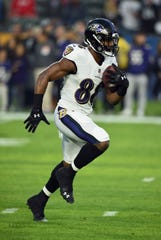 Baltimore Ravens running back/wide receiver Ty Montgomery (88) works out on the field before an NFL football game against the Los Angeles Chargers, Sunday December 22, 2018 in Carson, Calif.