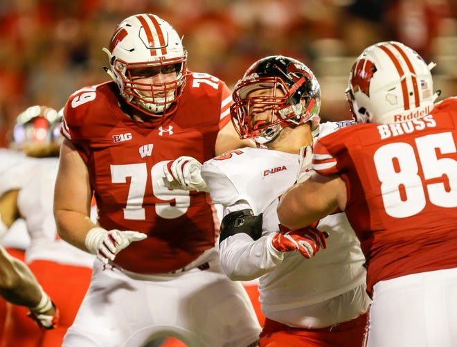 David Edwards (79) started 24 games at right tackle over the past two seasons for the Badgers.