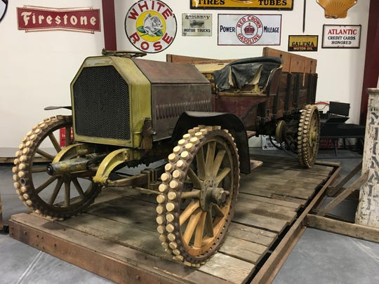 A 1910 Avery, made by a company that first built farm tractors, is an anchor at the Iowa 80 Trucking Museum.