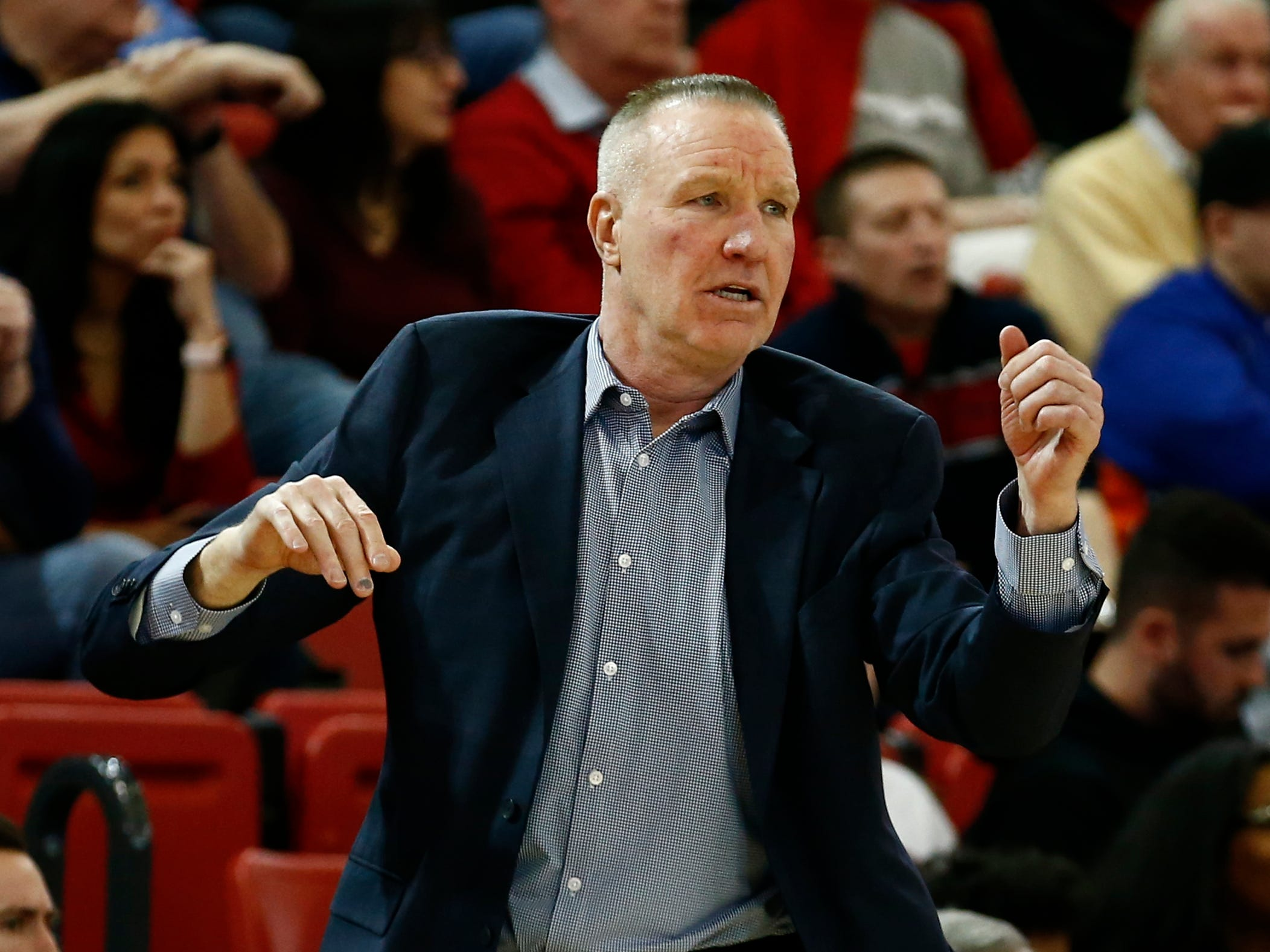 Jan 1, 2019; Queens, NY, USA; St. John's Red Storm head coach Chris Mullin reacts during the first half against the Marquette Golden Eagles at Carnesecca Arena. Mandatory Credit: Nicole Sweet-USA TODAY Sports