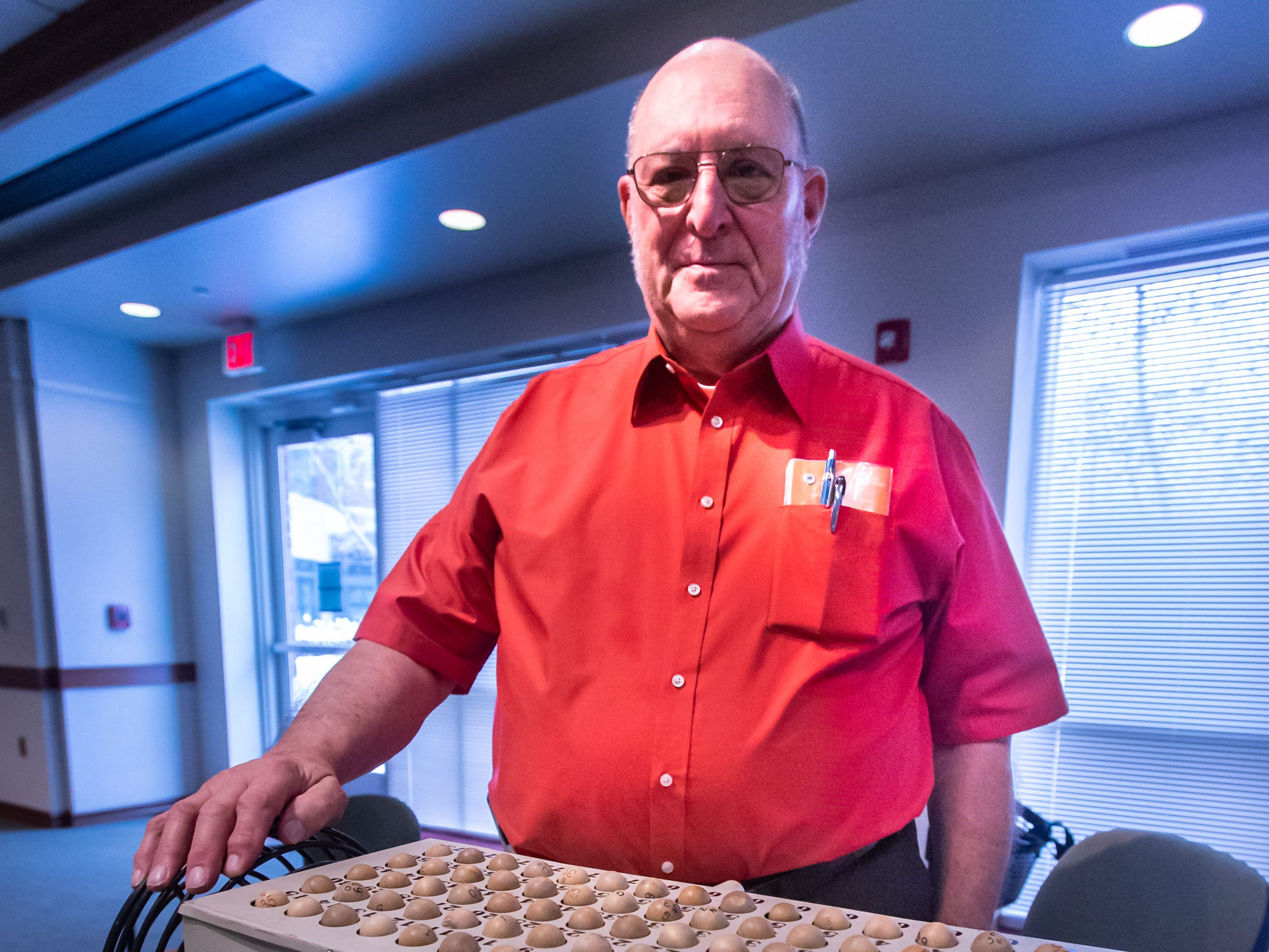 Expert Bingo caller Dick Schliewe of Oconomowoc prepares to call a game during a special New Year's Day gathering of the monthly senior breakfast club at Aurora Health Care in Summit on Tuesday, Jan. 1, 2019. Senior Breakfast Club is held from 8 to 10 a.m. on the first Tuesday of each month and is free to seniors and their families. For more info please call Trish Golden at 262-434-1248.