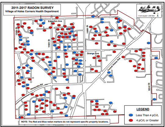 If you live in Hales Corners, you have a far better than even chance of living in a house that has too much radon, based on federal standards. The red dots represent Hales Corners homes that tested at greater than the action level of 4 pCi/L. Homes with the blue dots tested below the level.