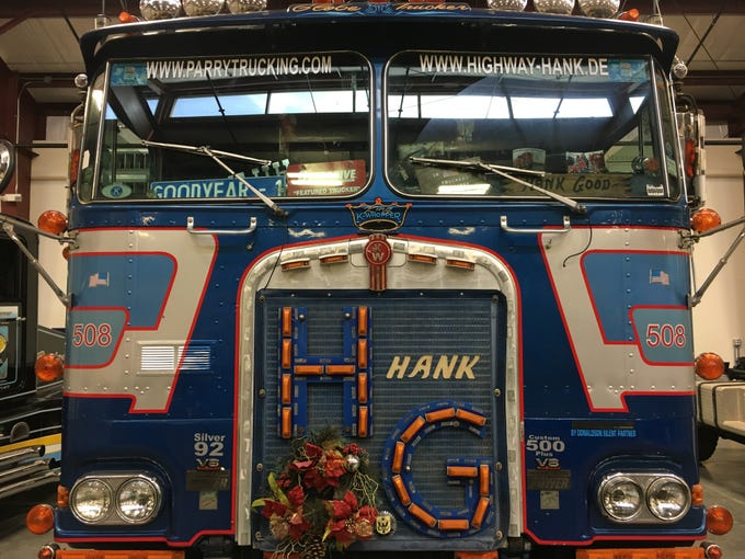 Hank's Highway Hilton, a 1981 Kenworth K100 Aerodyne, is on display at Iowa 80, the world's largest truck stop.