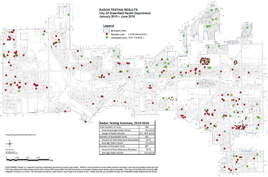 Red dots show locations where radon, associated with lung cancer, at higher than acceptable levels in Greenfield.