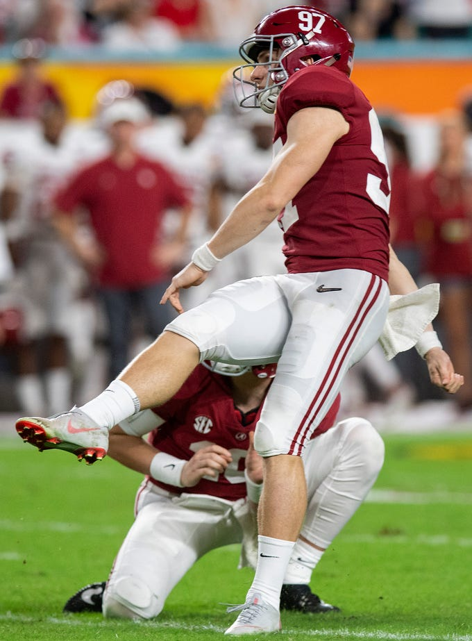 Alabama kicker Joseph Bulovas (97) kicks an extra point in second half action of the Orange Bowl at Hard Rock Stadium in Miami Gardens, Fla., on Saturday December 29, 2018.