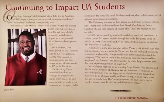 Victor Ellis scholarship information at the University of Alabama.