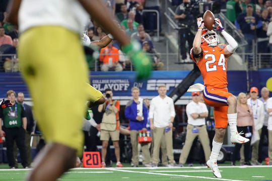 Dec 29, 2018; Arlington, TX, United States; Clemson Tigers safety Nolan Turner (24) intercepts a pass during the third quarter in the 2018 Cotton Bowl college football playoff semifinal game against the Notre Dame Fighting Irish at AT&T Stadium. Mandatory Credit: Kevin Jairaj-USA TODAY Sports