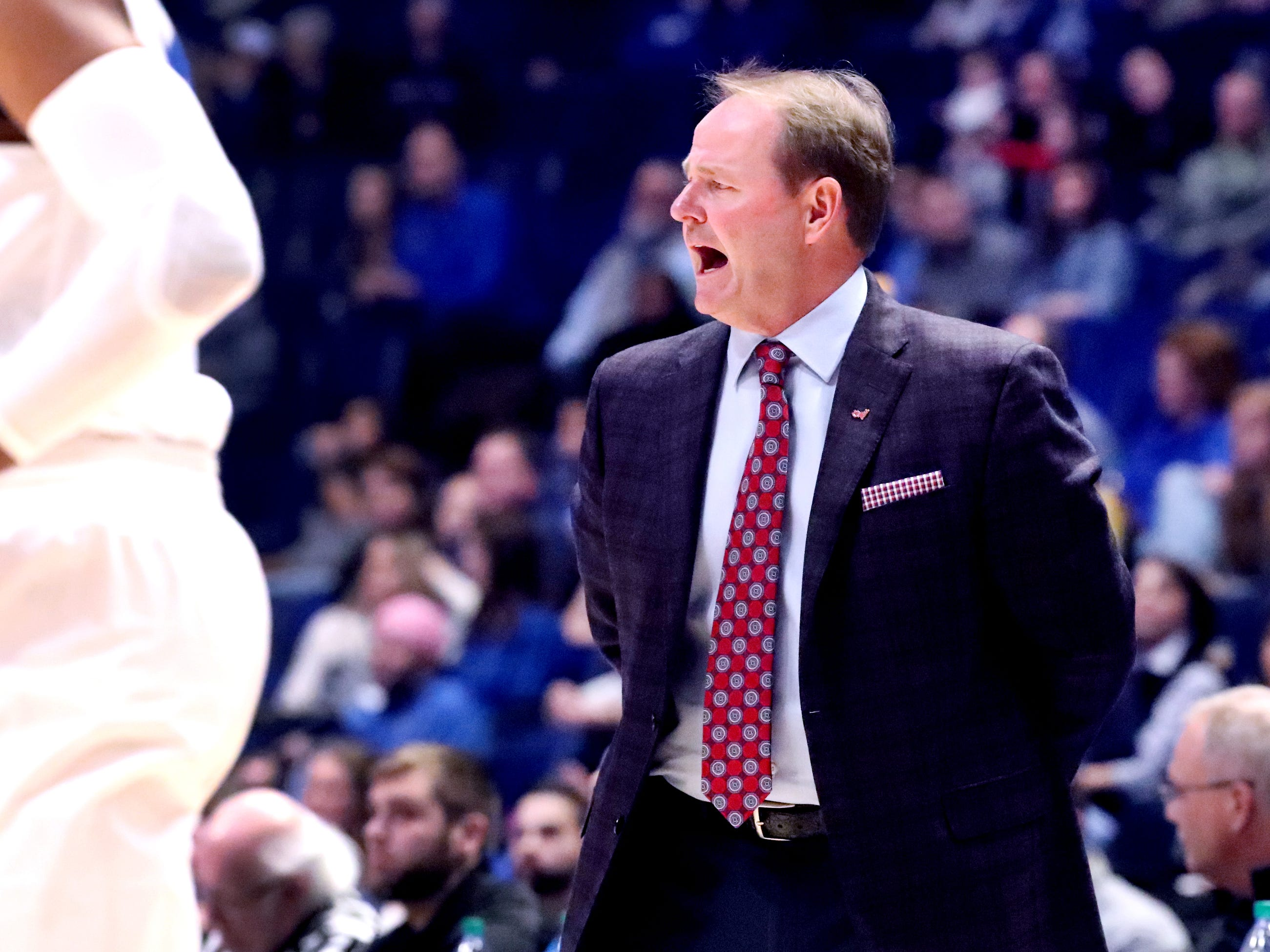 Ole Miss' head coach Kermit Davis on the sidelines during the game against MTSU on Friday Dec. 21, 2018, at Bridgestone Arena.