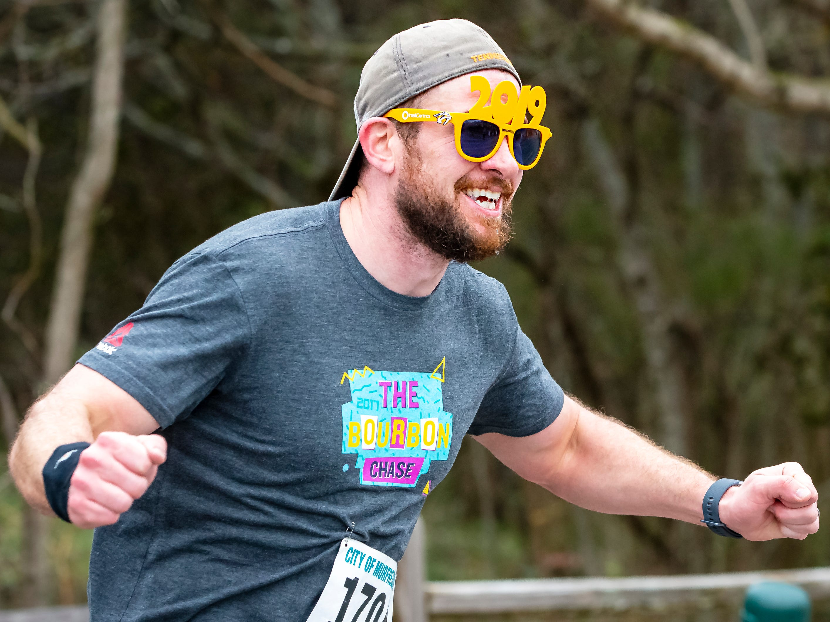 George Mead nears the finish line at the 2019 New Year's Day 5K event held at Old Fort Park.