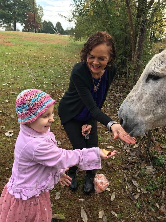 Haleigh Peden, 5, feeds a donkey behind Bearwallow Church of Christ in Ashland City.