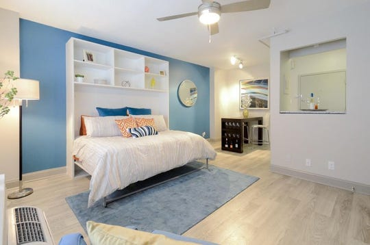A bedroom in the 500 Fifth apartment building.