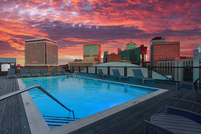 The rooftop pool at 500 Fifth.
