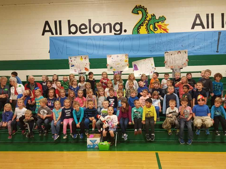 """Before she left for St. Jude, East Cheatham Elementary School had """"Haleigh's Day"""" to support Kindergartener Haleigh Peden, whose cancer returned in October."""