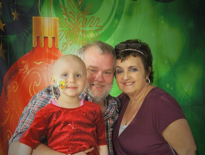Haleigh Peden with her guardians Jerry and Rhonda Clemons.