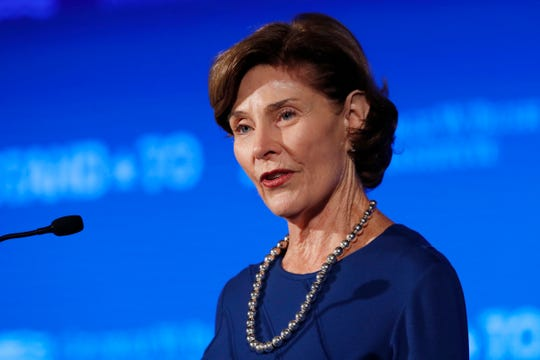 "Former first lady Laura Bush speaks  June 23, 2017, during ""Stand-To,"" a summit held by the George W. Bush Institute focused on veteran transition, in Washington."