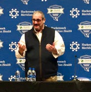 Giants general manager Dave Gettleman addresses the media Wednesday in his end-of-season news conference in East Rutherford, N.J.