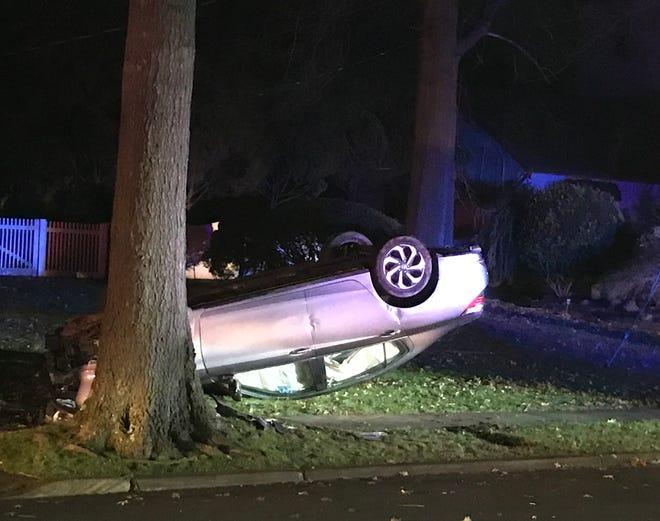 A car overturned in Glen Rock Jan. 1, 2019.