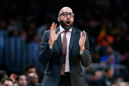 New York Knicks head coach David Fizdale reacts in the second quarter against the Denver Nuggets at the Pepsi Center.