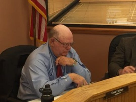District 1 Eddy County Board of Commissioner Ernie Carlson sits through his first meeting Jan. 2, 2019.