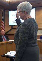 Eddy County Assessor Gemma Ferguson is sworn in for another term during Wednesday's Jan. 2, 2019 Eddy County Board of Commissioners meeting.