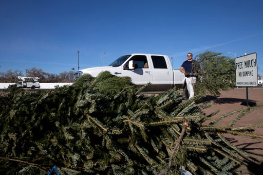 JD Randolph recycles his old Christmas tree for mulch on Dec. 28, 2017 at Berg Park.