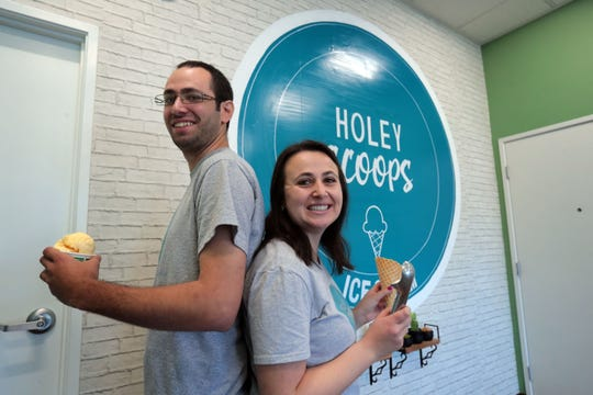Brother sister team of Aaron Brukman, 24, and Becca Brukman, 26, opened up Holey Scoops Ice Cream in Palm Desert. Photo taken on Wednesday, January 2, 2018 in Palm Desert.