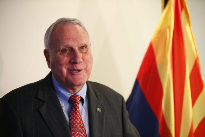 U.S. Senator Jon Kyl, R-Ariz., holds a press conference Jan. 2 in Phoenix to discuss his work during his second stint in the Senate.