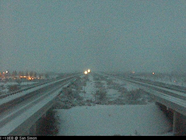 Arizona Department of Transportation worked to clear roadways in Cochise County after snow fall was reported early Wednesday morning.