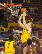 Connor MacDougall goes up for a layup at ASU during the Maroon and Gold Scrimmage in 2014.