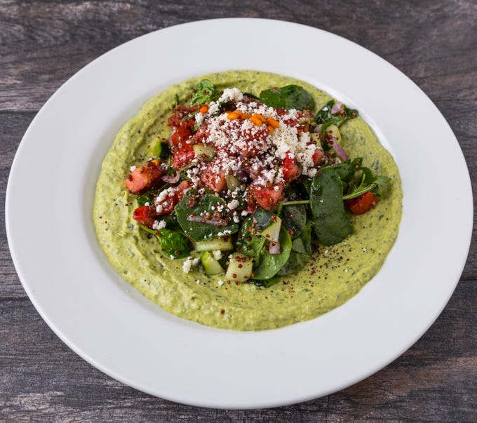 The red quinoa and jalapeno hummus bowl at Pita Jungle.