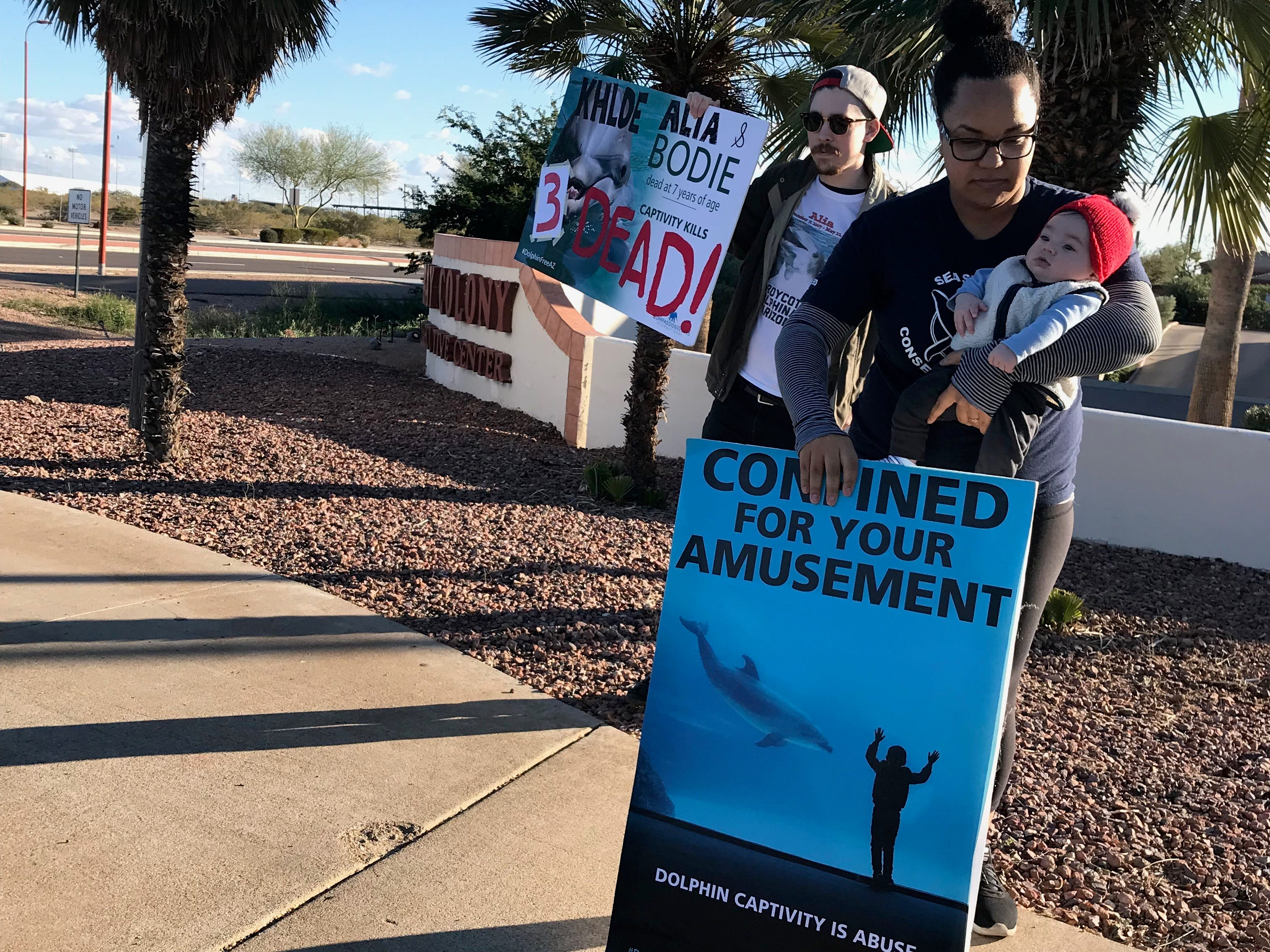 Olivia Robertson protests dolphins that perform for visitors at Dolphinaris Arizona after the death of the third dolphin, Khloe.