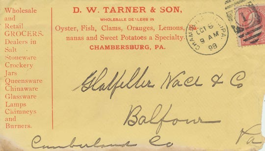 This is an envelope from D.W. Tarner & Son in 1898.