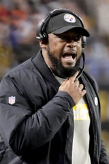 Pittsburgh Steelers head coach Mike Tomlin during an NFL football game against the Cincinnati Bengals, Sunday, Dec. 30, 2018, in Pittsburgh. (AP Photo/Gene J. Puskar)
