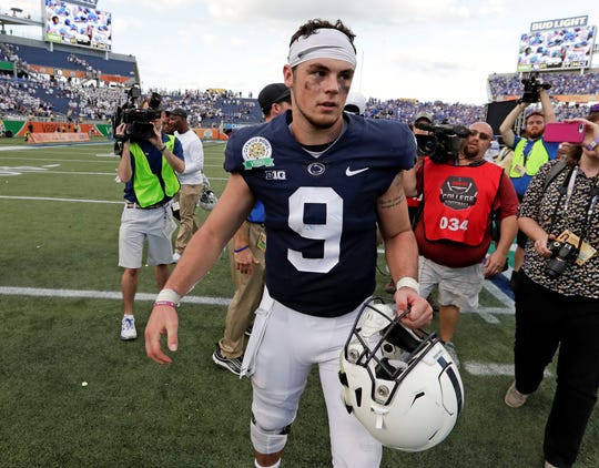 "Penn State quarterback Trace McSorley walks off the field after losing to Kentucky in the Citrus Bowl on Tuesday, Jan. 1. McSorley injured his right foot in the game, but he says the foot now feels ""really good."" McSorley is practicing for the Senior Bowl this week."