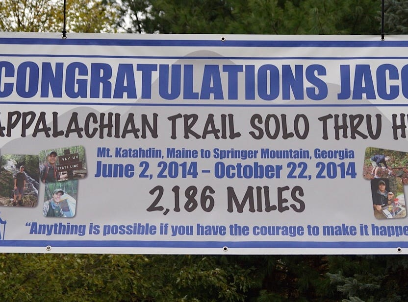Jacob Gilliland's family supported him every step of the way as he hiked the Appalachian Trail in 2014