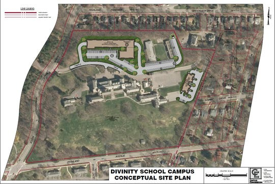 A concept for Colgate Rochester Crozer Divinity School shows new construction.