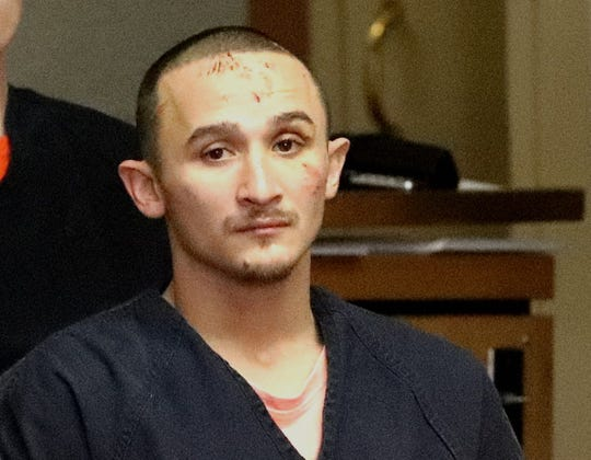 Attempted murder suspect Dillion Sullivan makes a Jan. 2, 2019, appearance in Shasta County Superior Court. Sullivan was arraigned on 25 criminal counts that allege, among other crimes, attempted murder of three police officers and shooting a police K-9 in the ear.