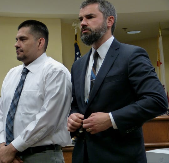 Juan Venegas, left, and defense attorney Michael Borges stand Wednesday, Jan. 2, 2019 as the jury enters a Shasta County courtroom.