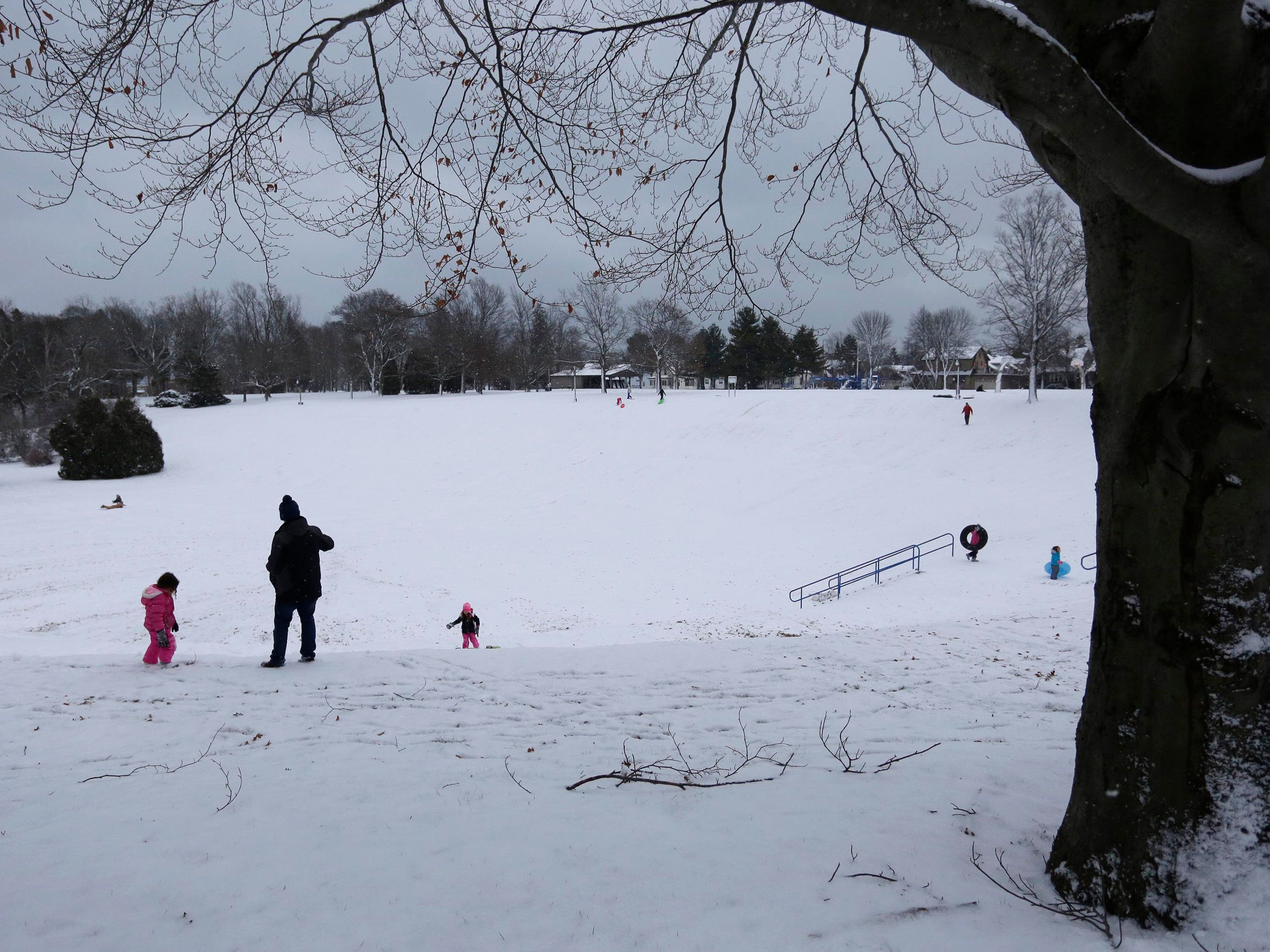 Children and adults survey the sledding area at Vollrath Bowl, Wednesday, January 2, 2019, in Sheboygan, Wis.