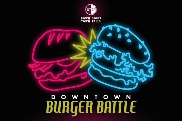 The Downtown Sioux Falls Inc. logo for the Downtown Burger Battle.
